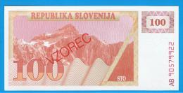 ESLOVENIA - 100 Tolar ND SC P-6S  SPECIMEN - Eslovenia