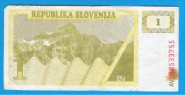 ESLOVENIA - 1 Tolar Muy Circulado - Eslovenia