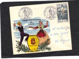 Sur Enveloppe Illustrée  - Foire Provençale De L´ Olive - DRAGUIGNAN - 1969 - Cachet Illustré Commémoratif - Poststempel (Briefe)