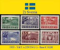 Svezia-002 (1935 - Y&T: N.229/234 (+) MLH) - Nuovi