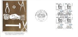 Grande Env Fdc France+feuille D´or,22/3/84 Paris, N°2305,les Syndicats Professionnels,, Bloc De 4 - 1980-1989