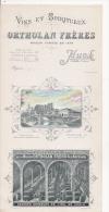 CARTON PUBLICITAIRE GRAND FORMAT  VINS ET SPIRITUEUX ORTHOLAN FRERES AUCH - Cartes