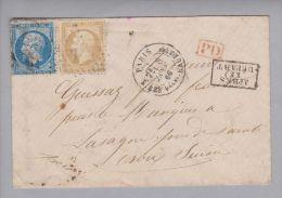 France 1866-01-08 Paris Briefhülle Nach St.Croix Mit 20+10Centimes - 1863-1870 Napoléon III Lauré