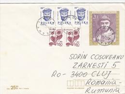 FLOWERS, STAMPS ON COVER, SENT TO ROMANIA, 1990, POLAND - Briefe U. Dokumente
