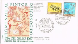 3702. Sobre Exposicion Barcelona 1967. Pinturas Rupestres - 1931-Hoy: 2ª República - ... Juan Carlos I