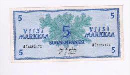 FINLANDE . 5 MARKKAA 1963 . N° AC 6852172 - Finlandia