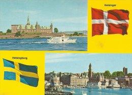 Danish & Swedish Flags.  # 0209 - Postcards