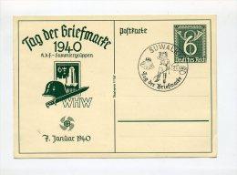 1940 3. Reich Ganzsache P288 Tag Der Briefmarke SST SUWALKI Ostpreussen - Germany