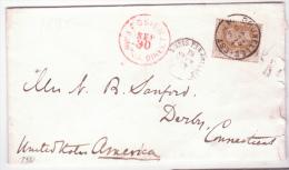 L. Affr. 25 C (décentrage Curiosité) De BRUXELLES. EST/1876pour Les USA - 1869-1883 Léopold II