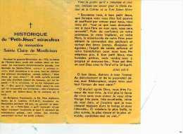 Petit Jesus Miraculeux Du Monastere Ste Claire De Montbrison, Carnet Avec Historique - Images Religieuses