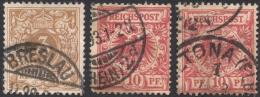 Germany, 3 Stamps: 3 Pf., 10 Pf. 1889, Sc # 46a, 48, Mi # 45, 47, Used - Germany