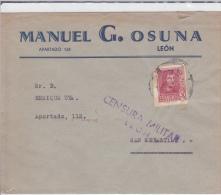 ESPAGNE - 1936 - ENVELOPPE De LEON Avec CENSURE  Pour SAN SEBASTIAN - Marcas De Censura Nacional