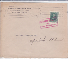 ESPAGNE - 1939 - ENVELOPPE De SAN SEBASTIAN Avec CENSURE SUR LE TIMBRE - Marcas De Censura Nacional