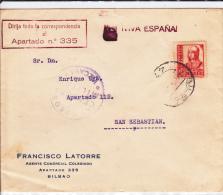 ESPAGNE - 1936/8 - ENVELOPPE De BILBAO Avec CENSURE De VIZCAYA Pour SAN SEBASTIAN - 1931-50 Lettres