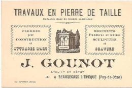 63 Beauregard-L´Evèque . J. Gounot Travaux En Pierre De Taille Carte Commerciale - France