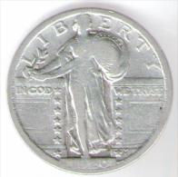 U.S.A. - STATI UNITI D' AMERICA - QUARTER DOLLAR ( 1920 ) STANDING LIBERTY - AG / SILVER - Emissioni Federali