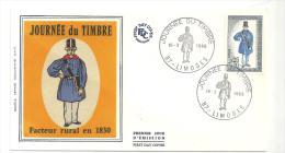 Enveloppe Premier Jour Journée Du Timbre 16/03/1968 (facteur Rural En 1830) Timbre à 0,25+0,10 - FDC
