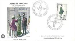 Enveloppe Premier Jour Journée Du Timbre 08/04/1967 (Boite à Lettres En 1850) Timbre à 0,25+0,10 - FDC