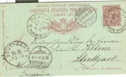 STORIA POSTALE, UMBERTO I° Cent.10, Mill.89, PER ESTERO, TIMBRO POSTE S.REMO, PORTO MAURIZIO, TIMBRO AMBULANT STUTTGART - 1878-00 Umberto I