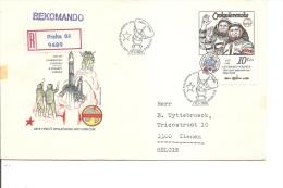 Espace -Cosmonautes ( FDC De Tchécoslovaquie De 1983 Avec Timbre De BF Voyagé En Recommandé Vers La Belgique à Voir) - Europe