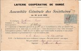 """TIMBRE FISCAUX """"DIMENSION"""" 1922 TASSET GD FORMAT LAITERIE COOPERATIVE DE DANGE - Marcophilie (Lettres)"""
