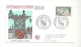 Enveloppe Premier Jour Bicentenaire De La Réunion De La Lorraine à La France (Place Stanislas) 06/05/1966 Timbre à 0,25 - FDC