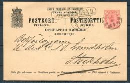 1889 Sweden Stockholm Fra Finland Abo Paquebot Stationery Card