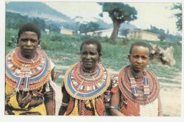 TANZANIA  POSTCARD CARTOLINA LADIES FROM NORTHERN TANZANIA IN COLORFUL KHANGA AND MASAI NECKLACES - Tanzania