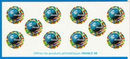 UN CARNET DE 10 TIMBRES NEUFS A 3 FRANCS FRANCE 1998 COUPE DU MONDE NON OBLITERES OFFREZ LES PRODUITS PHILATELIQUES - Full Sheets