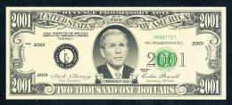 Reveng Promissory Note 2001 2.001 $ Avers: Comander Bush Kopfabbildung Revers: Pentagon + WTC 1870 – 2001 Flagge  Erh. I - Errors