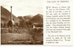 CP -  PHOTO - MACDONALD MONUMENT - GLENCOE - 223489 - THE GLEN OF WEEPING - VALENTINES - Schottland