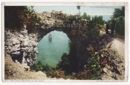 ARCH ROCK ~MACKINAC ISLAND MICHIGAN ~c1910s-20s Vintage Postcard ~SAILBOAT  [4427] - Warren