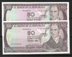 COLOMBIE . LOT DE DEUX BILLETS DE 50 PESO ORO - Colombia