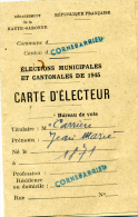 Cornebarrieu, Carte D'électeur,1945,cachet , Croix De Lorraine, De Gaulle, élections Municipales Et Cantonnales, - Documents Historiques
