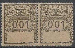 FRANCE - Retraites Ouvrières Et Paysannes - 0.01 F Neuf Sur Papier GC En Paire - Fiscali