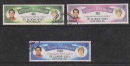 Seychelles Zil Eloigne Sesel 1981 Charles & Diana Royal Wedding ´ Couple ´ Values 3 VFU - Seychelles (1976-...)
