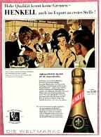 Reklame Werbeanzeige  -  Henkell Sekt  ,  Die Weltmarke  -  Hohe Qualität Kennt Keine Grenzen ,  Von 1965 - Alkohol