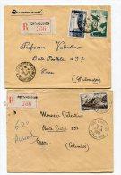 MEURTHE ET MOSELLE De PONT A MOUSSON  2 Enveloppes  Recommandées  De 1949 à 1951 - Marcophilie (Lettres)