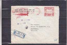 Israël - Lettre Recommandée De 1955 ° - EMA - Empreintes Machines - Expédié Vers La Belgique - Israel
