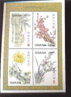 GHANA   2045 ;MINT NEVER HINGED MINI SHEETS OF FLOWERS - ORCHIDS - Plants