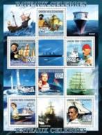 cm9207a Comores 2010 Famous Ships - F. Magellan Ch. Columb J. Cousteau L. DiCaprio K Winslet Elisabeth II E. Tabar s/s