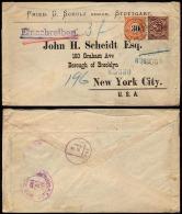 Württemberg 1901 80-Pfennig-Übersee-Einschreiben-Brief Mit Kleinem K1 Stuttgart Nach NEW YORK R-Zettel Abgefallen - Wuerttemberg