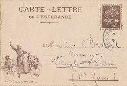 CARTE LETTRE DE L'ESPERANCE FRANCHISE MILITAIRE - Postmark Collection (Covers)