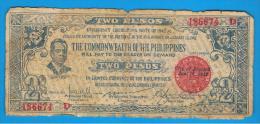 FILIPINAS - PHILIPPINES  -  COMMONWEALT -  2 Pesos 1942   S-647 - Filipinas