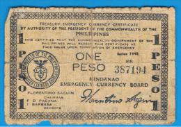 FILIPINAS - PHILIPPINES  -  GUERRILLAS - MINDANAO - 1 Peso 1943  Serie EE - Filipinas