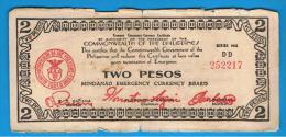FILIPINAS - PHILIPPINES  -  GUERRILLAS - MINDANAO - 2 Pesos 1943 Serie DD - Filipinas