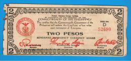 FILIPINAS - PHILIPPINES  -  GUERRILLAS - MINDANAO - 2 Pesos 1944 Serie D - Filipinas