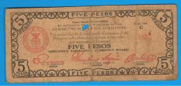 FILIPINAS - PHILIPPINES  -  GUERRILLAS - MINDANAO - 5 Pesos 1943  Serie C - Philippines