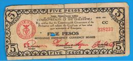 FILIPINAS - PHILIPPINES  -  GUERRILLAS - MINDANAO - 5 Pesos 1943  Serie CC - Filipinas