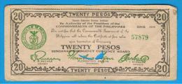 FILIPINAS - PHILIPPINES  -  GUERRILLAS - MINDANAO - 20 Pesos 1944  Sin Serie - Filipinas